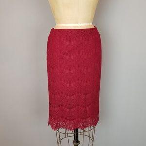 Burgundy Chantilly Lace Pencil Skirt
